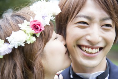 39898376 - bride and groom cheek to kiss